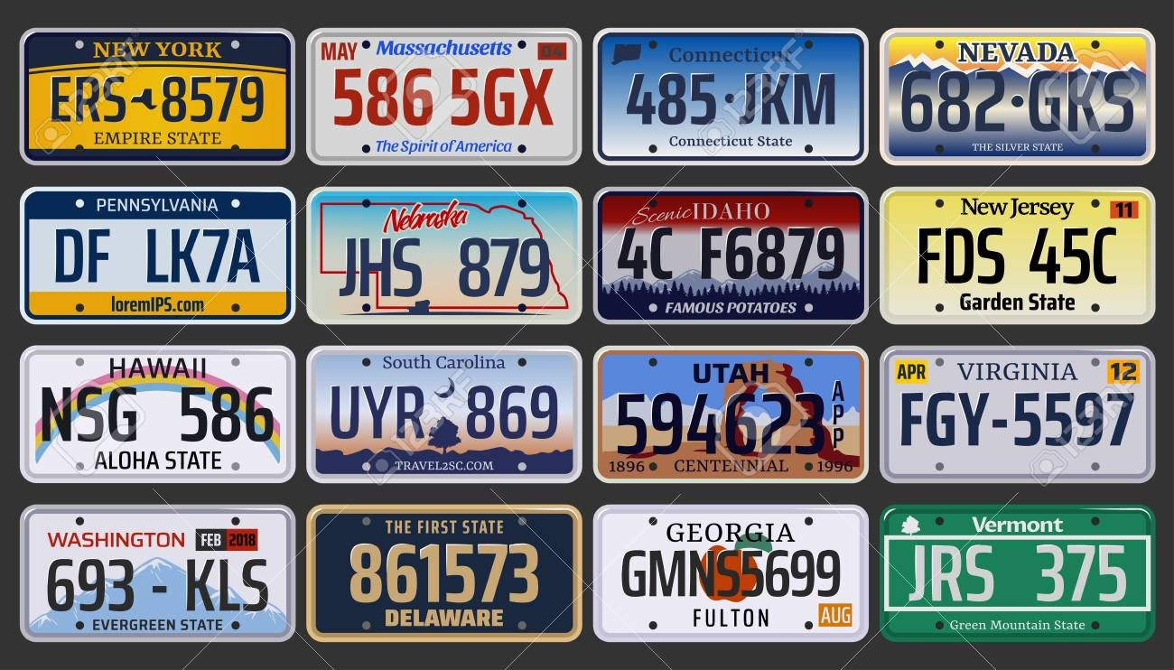 Vehicle registration number plates of American states and