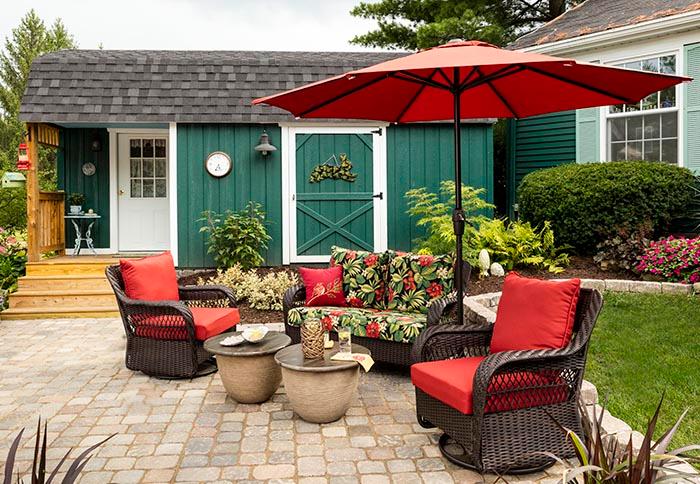 Patio Decor, Red Patio Table Umbrella