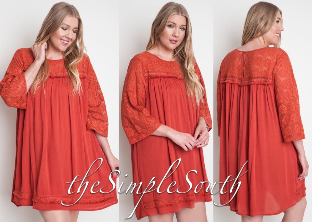 UMGEE Southern Boho Lace Bell Sleeve Shift Dress/Long Legging Tunic Fringe Trim #Umgee #PlusSize #LongTunic #MiniDress #Orange #Fall #Thanksgiving #Southern #Boho #Festival #theSimpleSouth