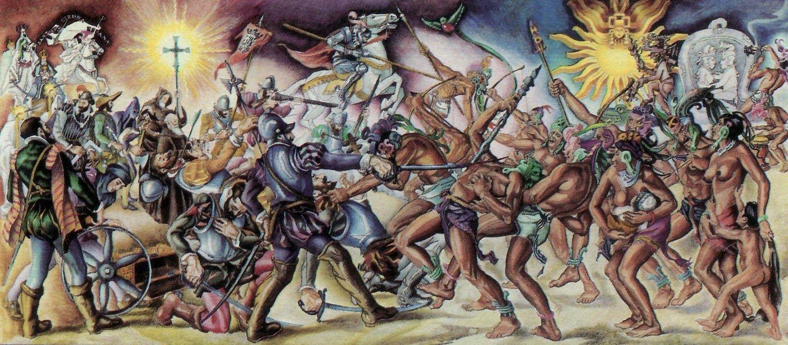 Pedro Alvarado and the Conquistadores in combat