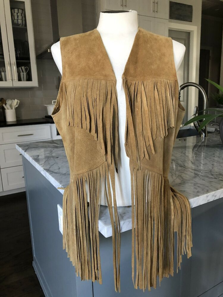 1970s Vintage Womens Genuine Leather Suede Fringed Vest Size Large  fashion   clothing  shoes  accessories  womensclothing  coatsjacketsvests (ebay link) 11e62d767