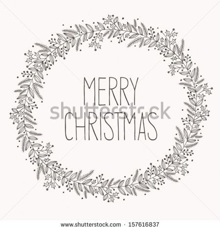 Photo of Christmas wreath doodle stock vector (royalty free) 157616837
