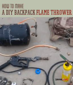 Learn how to make this awesome DIY backpack flamethrower with junk you have lying around in your garage and some tiki torch fuel. #backpackflamethrower #diyflamethrower #flamethrower