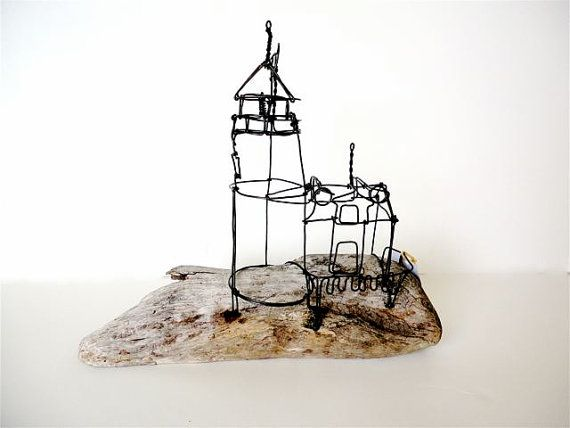 lighthouse and keepers house wire sculpture by wiredbybud on etsy, $50.00 |  wire sculpture, sculptures, sculpture  pinterest