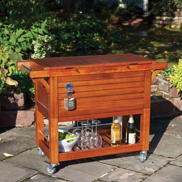 Tommy Bahama 100 Quart Wood Rolling Cooler Wood Cooler Wooden Cooler Diy Cooler