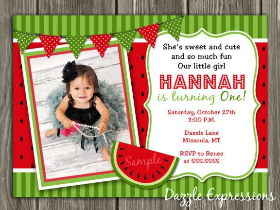 printable watermelon birthday invitation | kids summer party idea, Birthday invitations