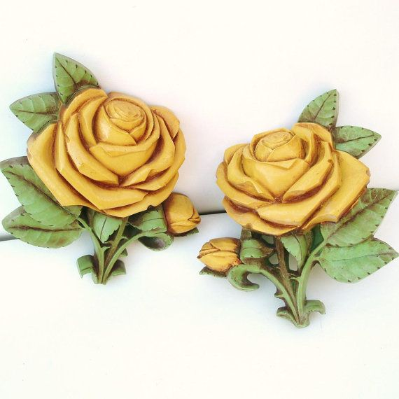 Vintage Syroco Wall Hangings Yellow Rose Homco | Plaque-A-Lackin ...