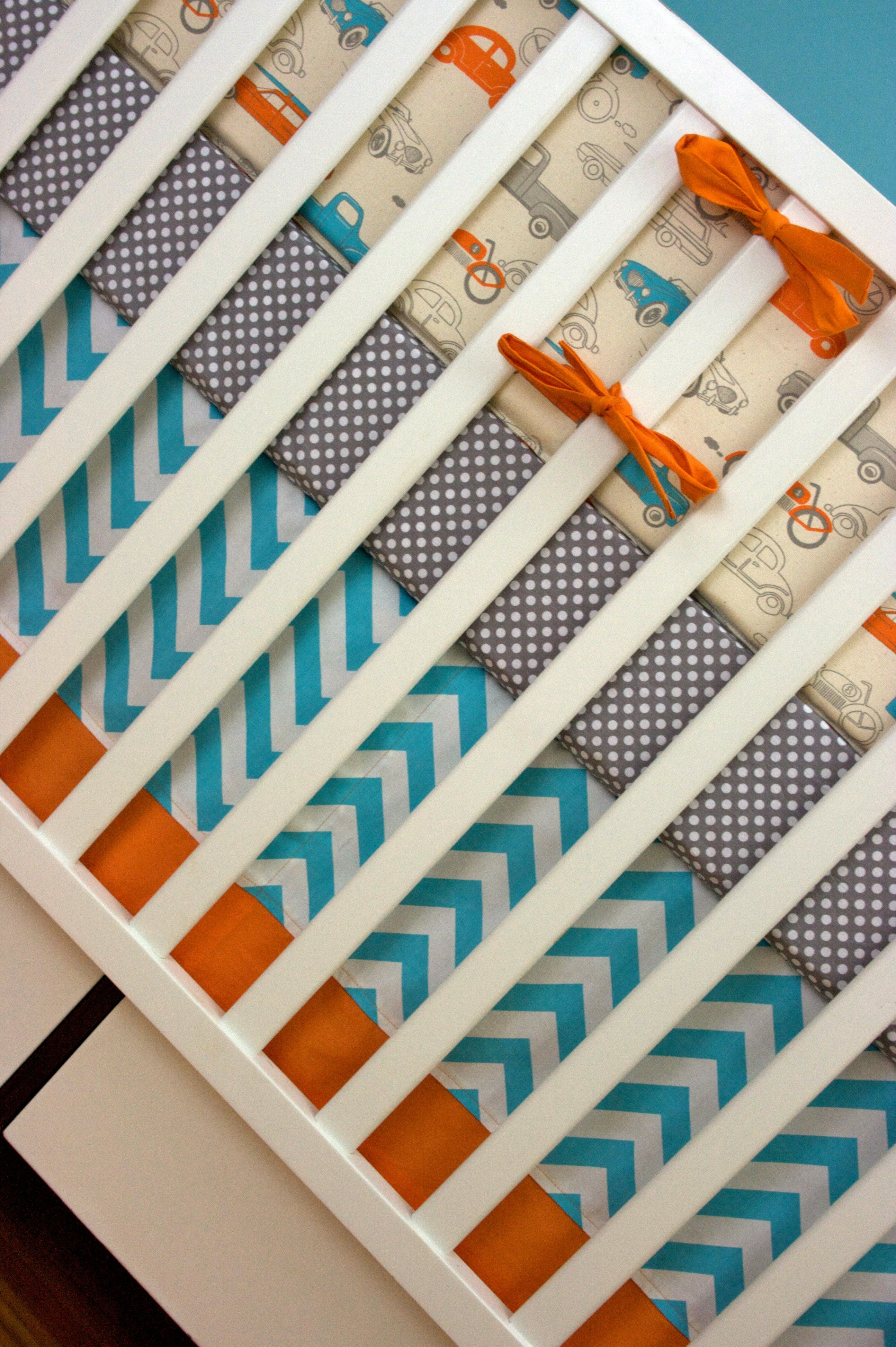 Retro Cars And Trucks Orange And Aqua Crib Bedding Baby