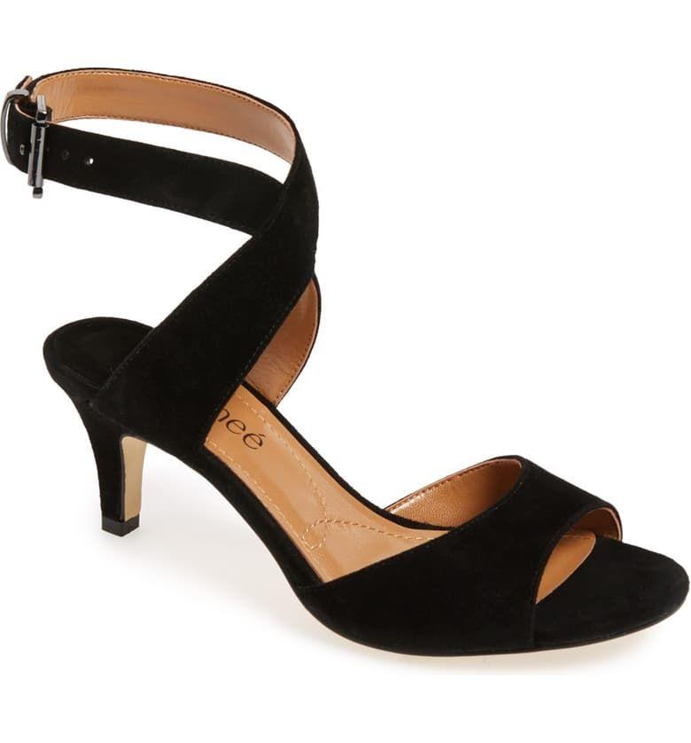 J. Adams Low Ankle Strap Kitten Heel - Essential Mid Heel
