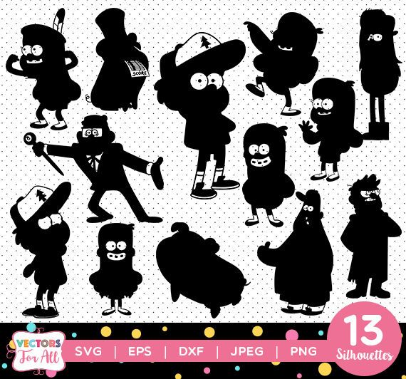 Gravity Falls Silhouettes Pack Gravity Falls Silhouettes Collection Vector Clipart Digital Download Svg Png Jpg Gravity Falls Diy Activities Fall Halloween