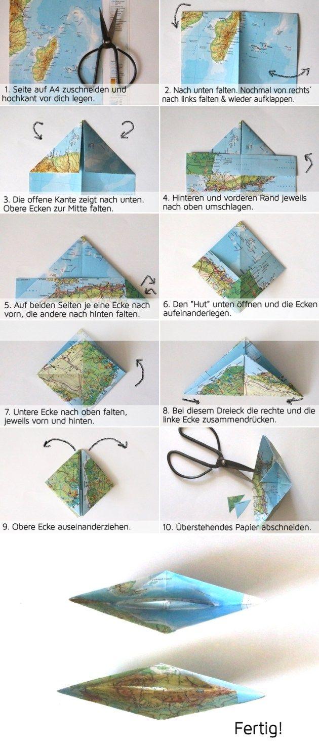 papierboot girlande aus atlasseiten upcycling papiert te aus alten landkarten papier. Black Bedroom Furniture Sets. Home Design Ideas