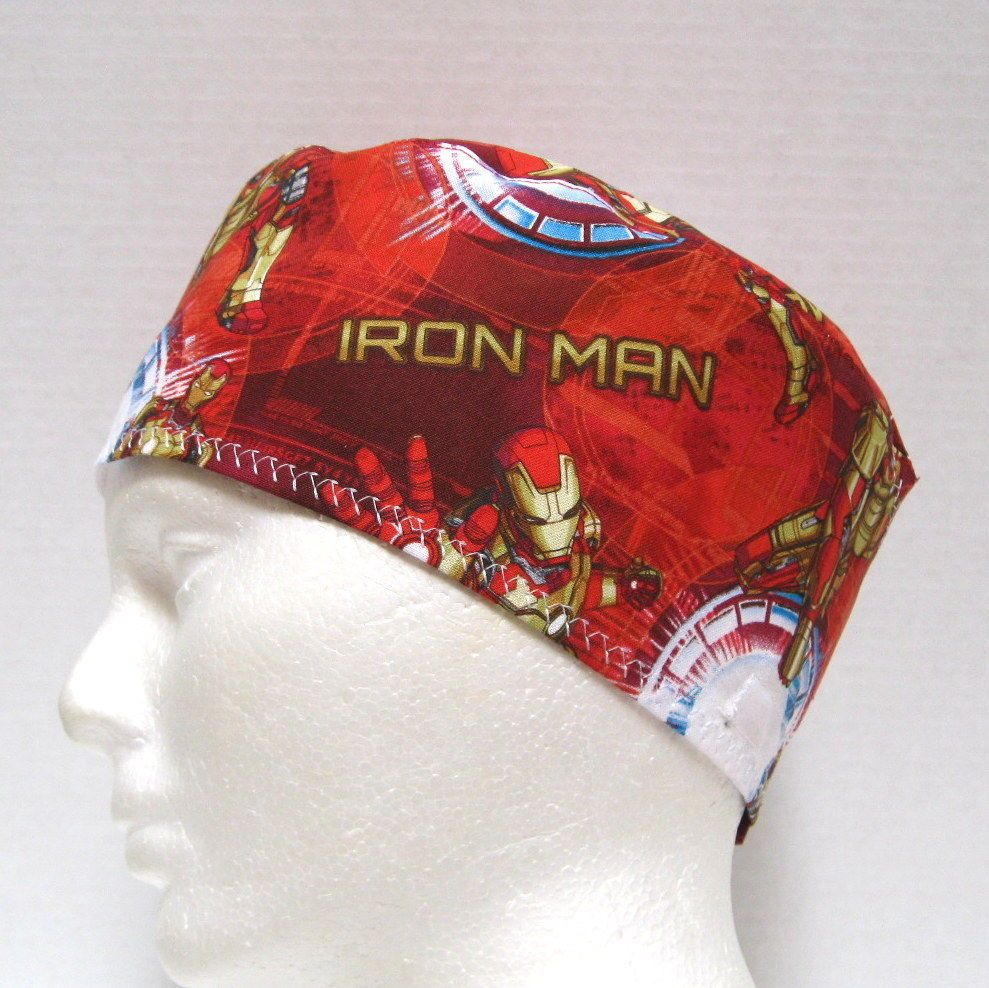 free shipping ec8c0 20a99 Iron Man Mens Scrub Hat, Scrub Cap, Surgical Cap, Scrub Skull Cap,Velcro  Close  Handmade