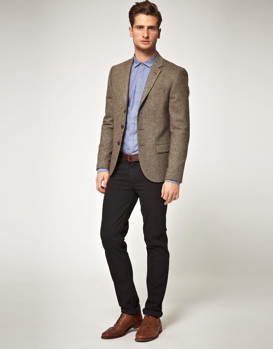 ASOS Slim Fit Herringbone Blazer In Brown at asos.com