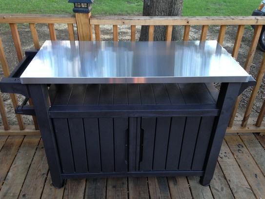 Keter Unity Xl 78 Gal Grill Serving Prep Station Cart With Patio Storage 229369 The Home Depot Patio Storage Outdoor Cooking Table Outdoor Grill Station