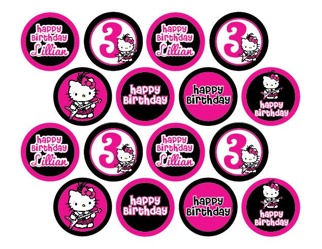 Hello Kitty Punk Rock or Zebra Print Cupcake Toppers Printable Happy