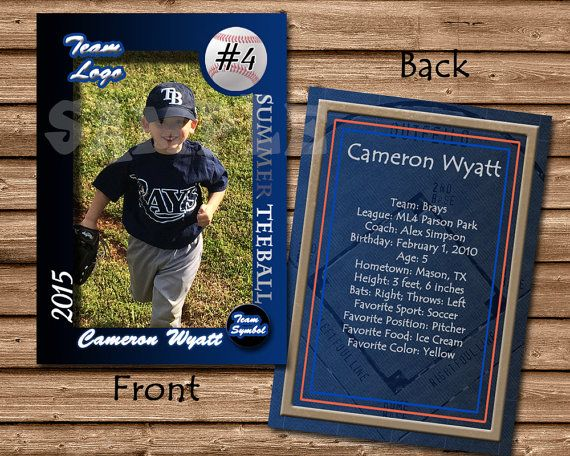 Baseball Card Template Perfect for trading cards for your team - trading card template