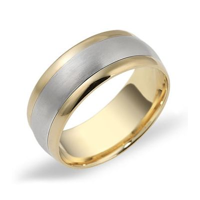 Two Tone Mens Wedder 2068001 Temelli Jewellery Mens Wedding Rings