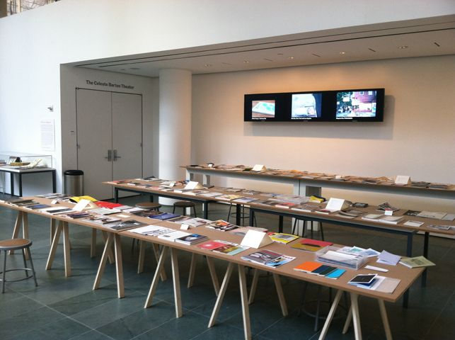 Installation view of Millennium Magazines exhibition at MoMA