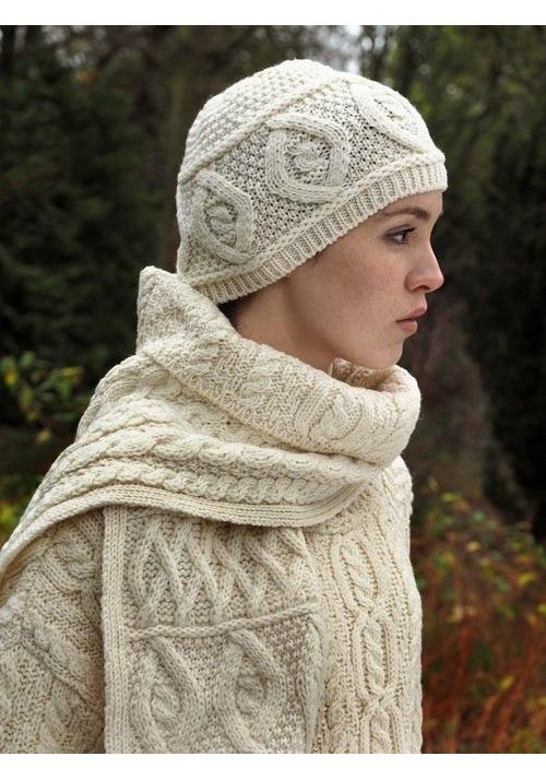 d1a371a771613 DIAMOND ARAN HAT   SCARF Made from 100% Merino Wool Colours Available   Natural