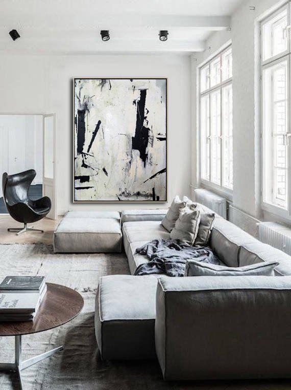 Photo of Große abstrakte Malerei auf Leinwand schwarz weiß Wand Kunst Malerei Acryl Leinwand abstrakte Leinwand Kunst Original Dine Room Wall Art Office Decor