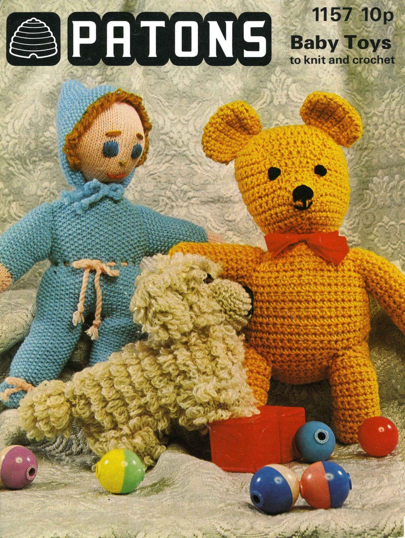 Vintage knitted toys teddy bear doll puppyknitting pattern vintage knitted toys teddy bear doll puppyknitting pattern 1960 bankloansurffo Choice Image