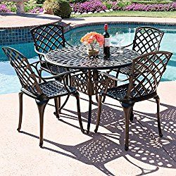 Best Choice Products 42 5 Piece Cast Aluminum Patio Outdoor Dining Set Textured Brown
