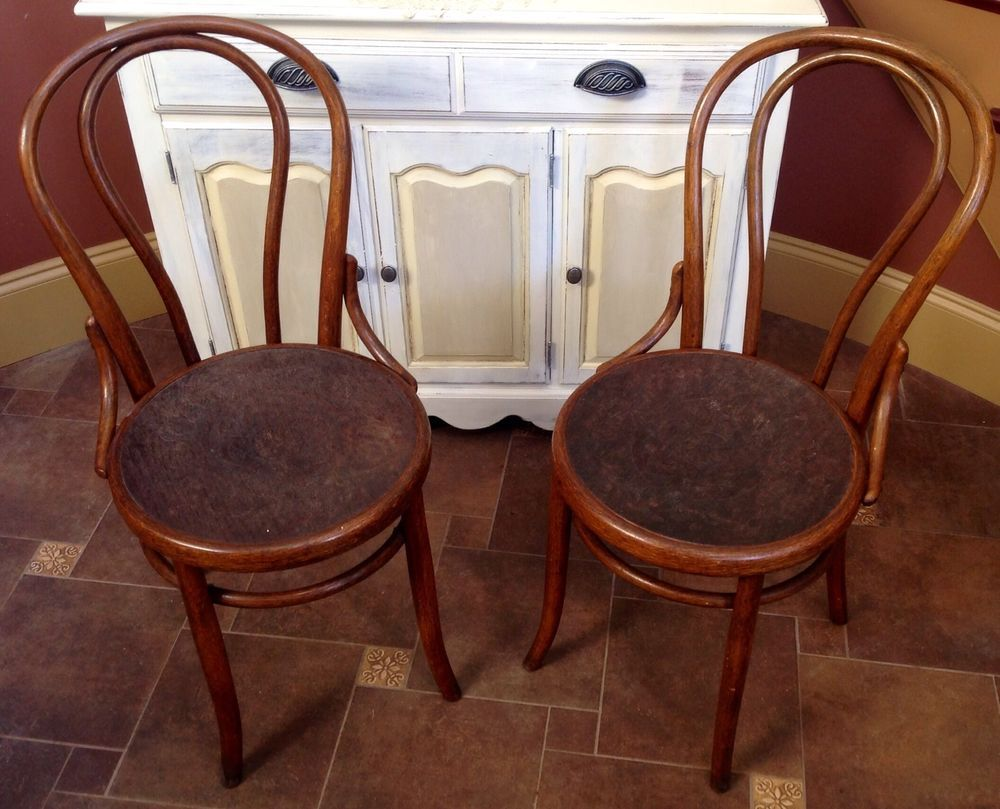 Antique high chair bentwood - Antique Fischel Bentwood Chairs Embossed Seats Czechoslovakia Fischel