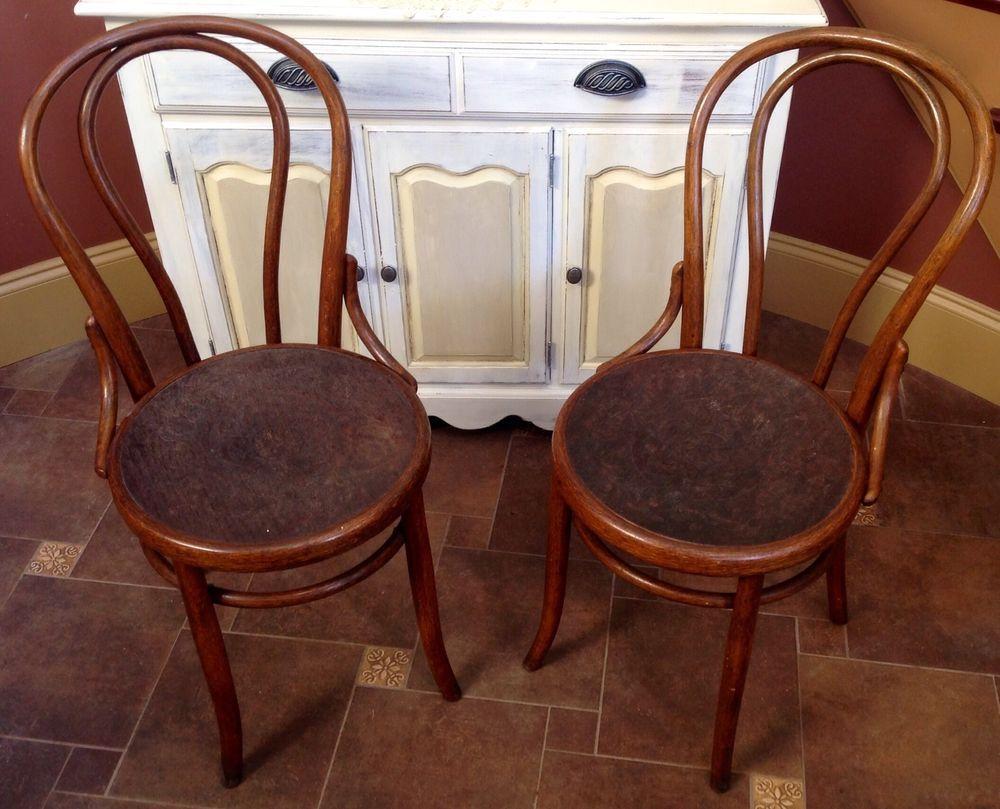 Antique Fischel Bentwood Chairs Embossed Seats Czechoslovakia