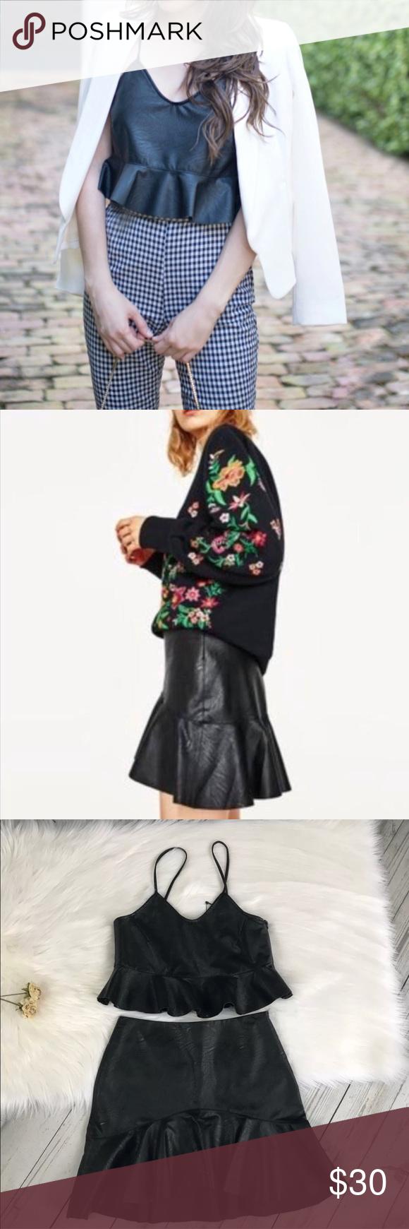 Zara Set Crop & Mini Skirt Black Faux Leather Mini