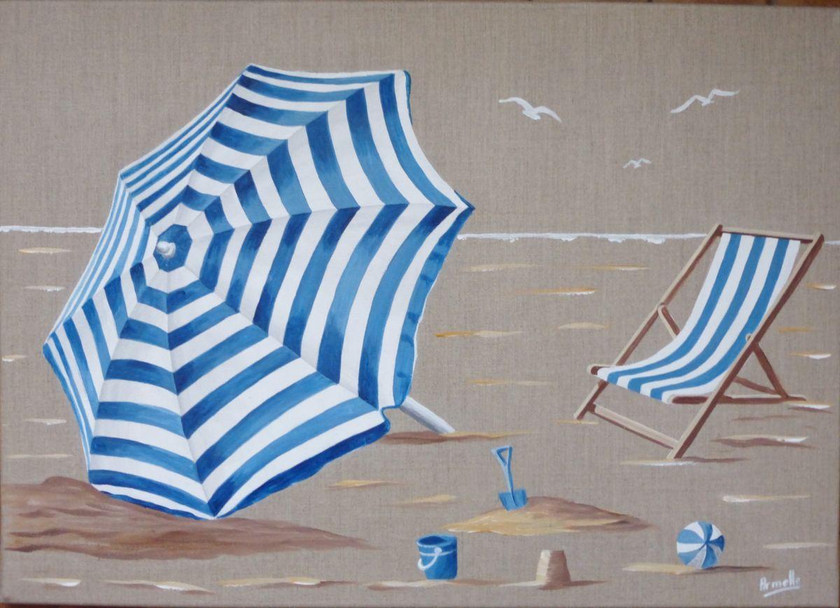 parasol rayé - Peinture, 50x70x2 cm ©2016 par armelle - parasol, transat, plage | Peintures de ...