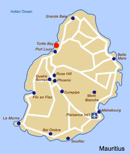 Oberoi Mauritius Map Islands of Africa : Hotel & Beach Resort ...