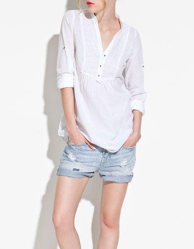 Denim Shorts + White Shirt