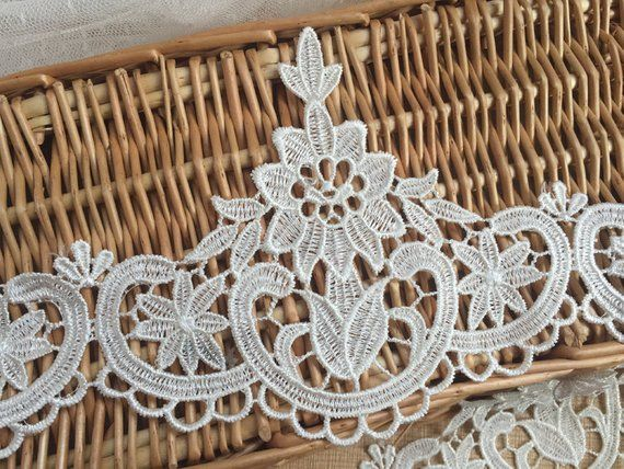 Photo of Ivory Floral Lace Trim Embroidery Wedding Veil Lace Trim 5.1…