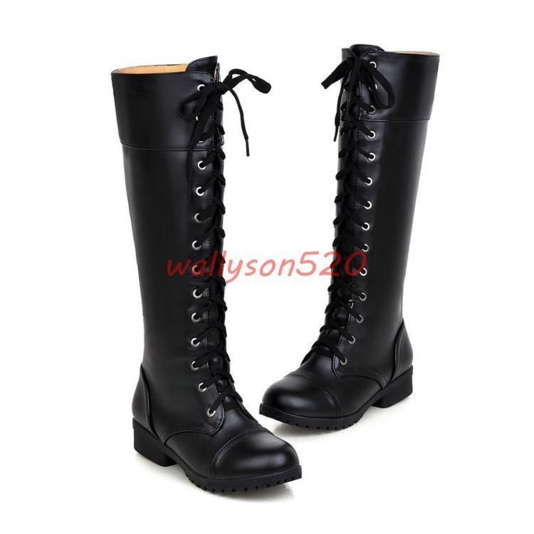 60fa3d93ccf Womens Military Combat Knee High Boots Low Heels Lace Up Knight Gothic Shoes