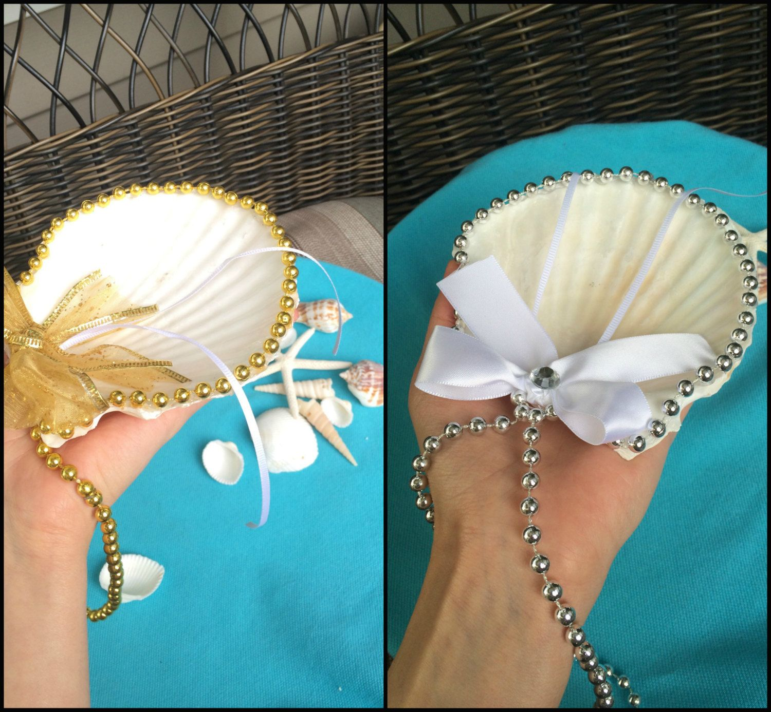 Silver or Gold seashell ring holder for beach themed wedding with