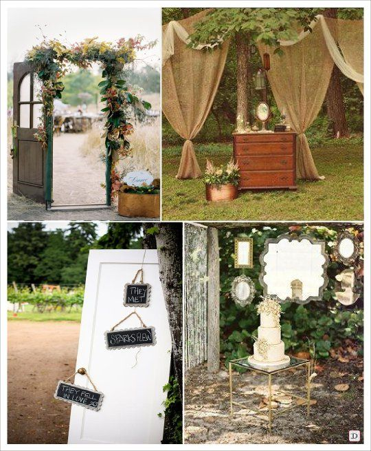 mariage exterieur outdoor rideau miroir porte deco mariage pinterest brocante and wedding. Black Bedroom Furniture Sets. Home Design Ideas