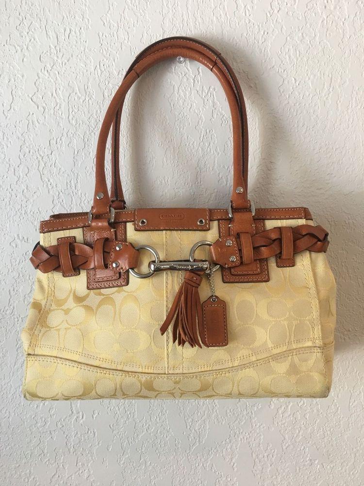 45f371296c ... release date coach hampton signature carryall handbag purse satchel  yellow f13065 coach satchel 24a13 aa18c