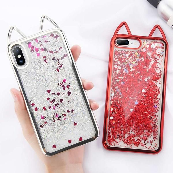 Half-wrapped Case Bling Glitter Quicksand Star Sky Moon Phone Cases For Iphone 6 6s Plus Cartoon Flamingo Cover For Iphone 7 6 6s X 7plus 8 Plus
