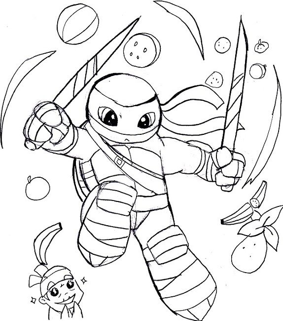 Fruit Ninja Coloring Pages Ninja Turtle Coloring Pages Turtle