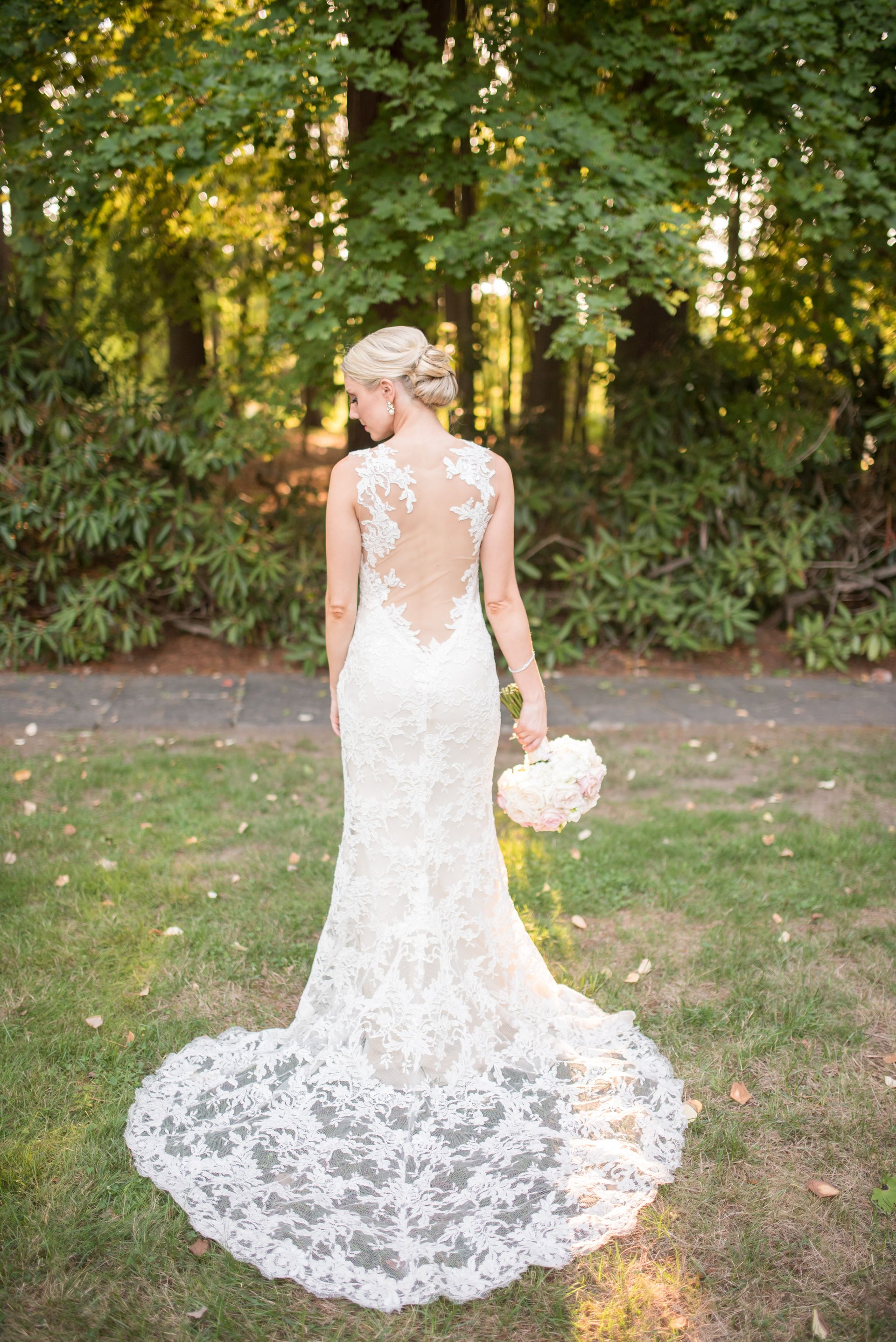 Romantic Lace Wedding Dress Illusion Back Bridal Gown Ideas Up