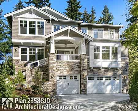 Plan 23588jd northwest house plan with drive under garage for Garage under house plans