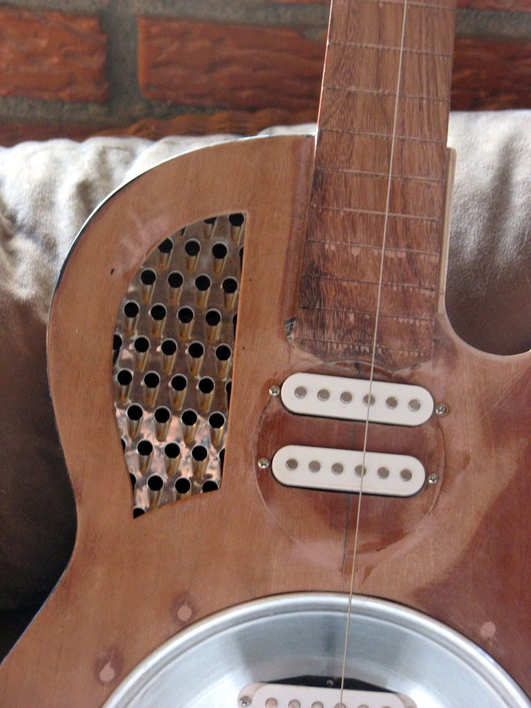 Resonator Guitar Converted From Old Acoustic Guitar With Pictures Resonator Guitar Guitar Acoustic Guitar