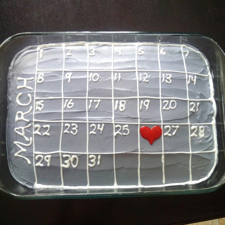 Romantic Calendar Ideas : Anniversary cake calendar gift idea gifts for him