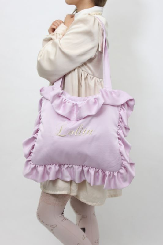 Syrup Ruffle Pillow Tote Bag フリルピローバッグ ラベンダー