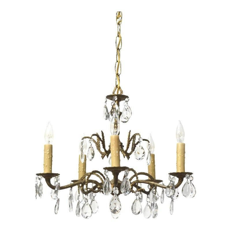 Five light spanish brass and crystal chandelier in 2020