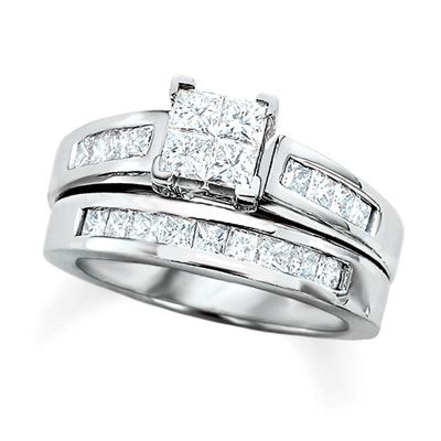 2 Ct T W Quad Princess Cut Diamond Bridal Set In 14k