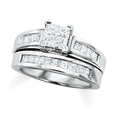 2 CT TW Quad Princess Cut Diamond Bridal Set in 14K White Gold