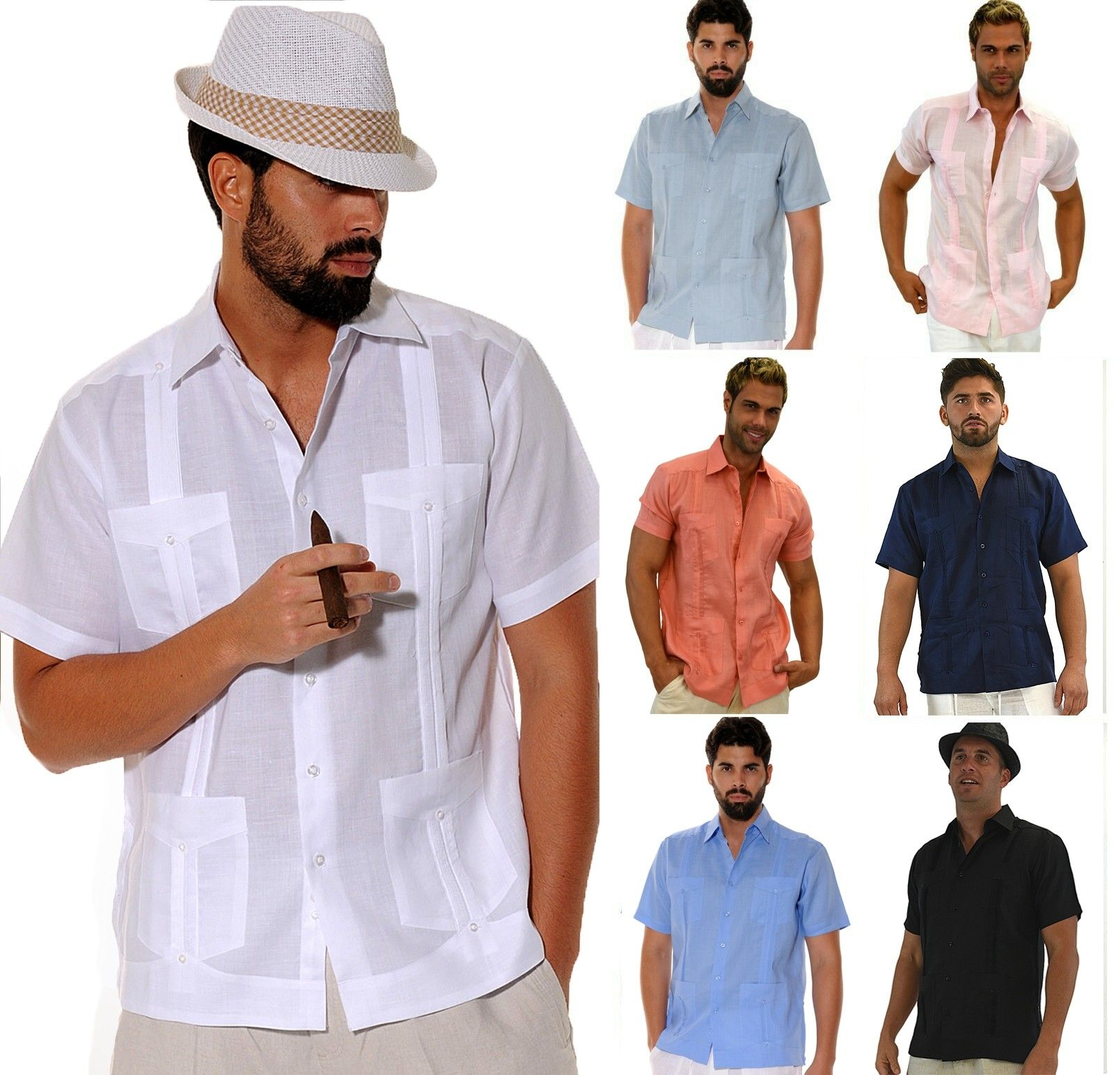 Ls499 Bohio 100 Linen Guayabera Chacavana Classic Traditional 4 Pocket Short Sleeve Shirt In 8 In 2020 Casual Linen Pants Linen Drawstring Pants Linen Shirt Men
