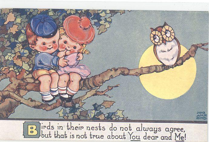 NORA ANNIE BIRCH-OWL-FULL MOON-CHILDREN-ROMANCE-M41577 - bidStart (item 15674887 in Postcards... Astronomy)
