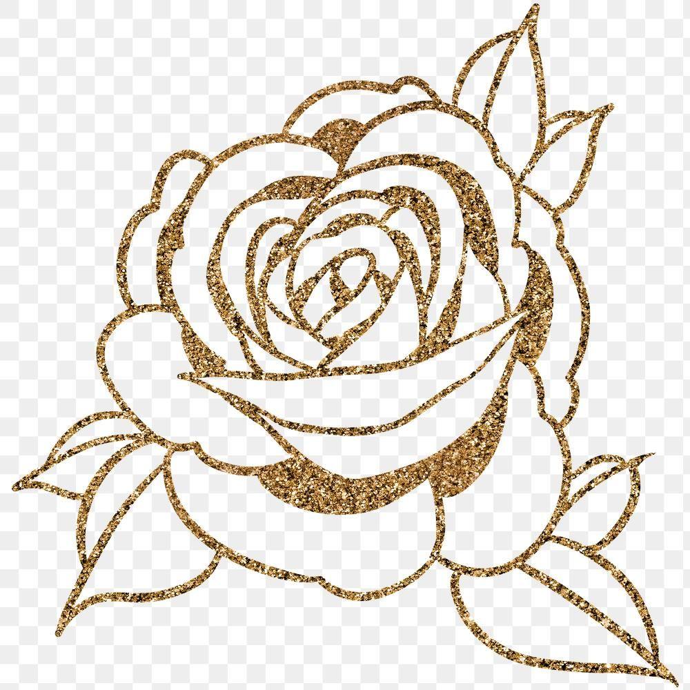 Download Premium Png Of Glittery Golden Rose Flower Outline Sticker Flower Outline Flower Phone Wallpaper Rose Flower